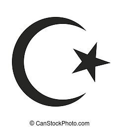 Symbol of Islam - Star and crescent icon on white...