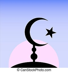 Symbol of Islam on sunset background.