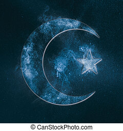 Symbol of Islam. Star and crescent moon. Abstract night sky background.