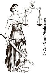 Symbol of justice Femida blindfolded weights at arm length...