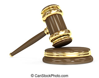 Symbol of justice - judicial 3d gavel. Object over white