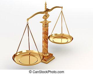 Symbol of justice. Scale. 3d