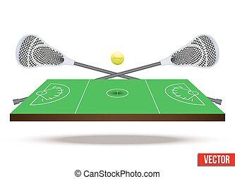 Symbol of lacrosse game on field.