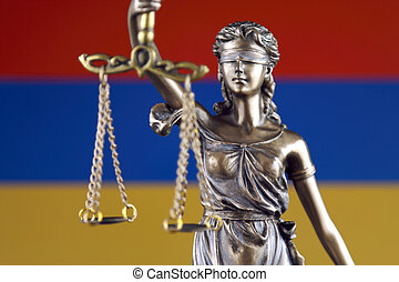 Symbol of law and justice with Armenia Flag. Close up.