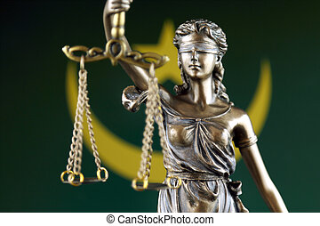 Symbol of law and justice with Mauritania Flag. Close up.