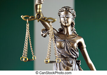 Symbol of law and justice with Nigeria Flag. Close up.