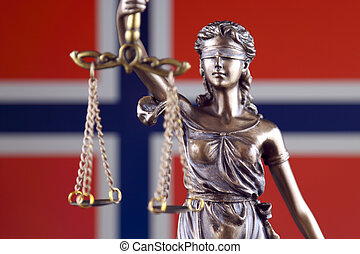 Symbol of law and justice with Norway Flag. Close up.