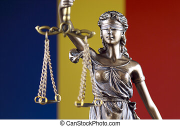 Symbol of law and justice with Romania Flag. Close up.