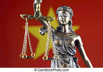 Symbol of law and justice with Vietnam Flag. Close up.