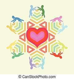 symbol of love and unity with heart star and people icons