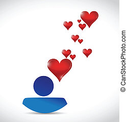 symbol of love connection. avatar icon illustration design over white