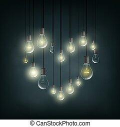 Symbol of love is a heart made of electric bulbs.
