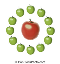 symbol of mass attraction - set of 12 green apples of the...