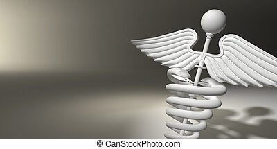 Symbol of medicine on grey background. 3d