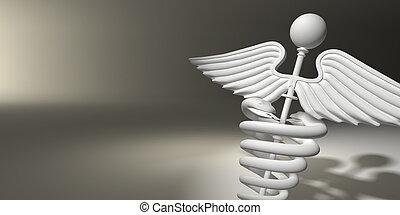 Symbol of medicine on grey background. 3d