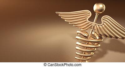 Symbol of medicine on yellow background. 3d