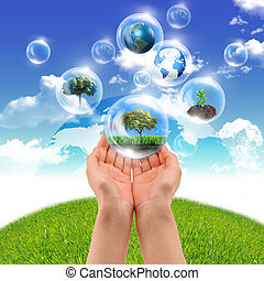 Symbol of nature protection - Illustration ofair bubbles...