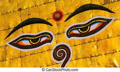 Symbol of Nepal, Buddha's Eyes in Kathmandu