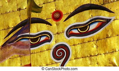 Symbol of Nepal, Buddha's Eyes in Kathmandu.