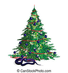The serpent and the festive fir-tr