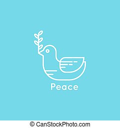 Symbol of peace dove with olive branch. minimal. Outline