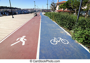 Symbol of pedestrian and Bicycle paths, Istanbul.