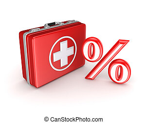Symbol of percents on a medical suitcase. Isolated on white ...