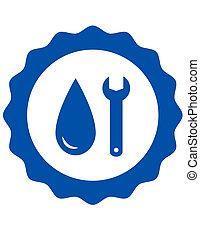 symbol of plumbing with water drop - blue repair symbol of...