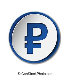 Symbol of russian ruble on sticker label, isolated on white.