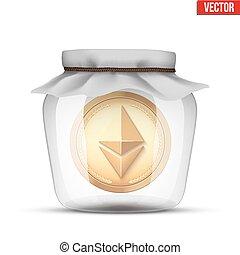 Symbol of save digital cryptocurrency money