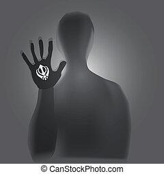 Sikhism - Symbol of Sikhism - Khanda in the human hand. ...