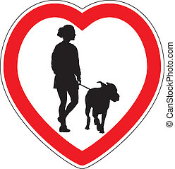 Symbol of space for walking dogs