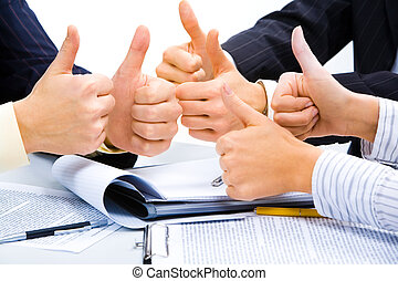 Symbol of success - Three people holding their thumbs up...