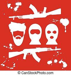 Symbol of terrorism - man in turban, balaclava and two...