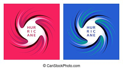 Symbol of the hurricane on red and blue background - The...