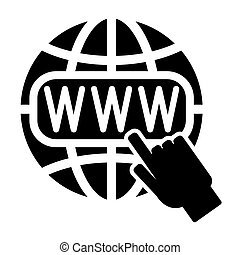 Symbol of the Internet, globe and cursor
