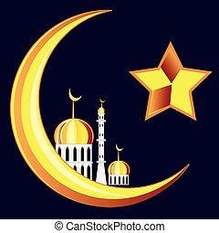 Symbol of the islam on black