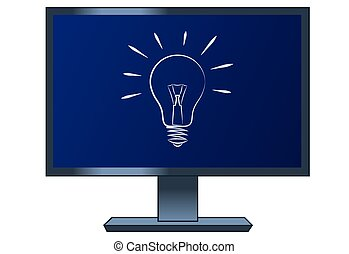 Symbol of the light bulb on the computer lcd monitor