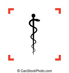 Symbol of the Medicine. Black icon in focus corners on white bac