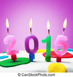 symbol of the new year 2015 on the cake