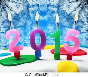 symbol of the new year 2015 on the cake.
