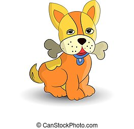 Symbol of the new year 2018, orange dog, holding a bone in the teeth, cartoon on a white background.