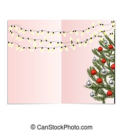 Symbol of the New Year, Christmas. Garland of light bulbs. Green spruce with decorated with red and silver balls. illustration