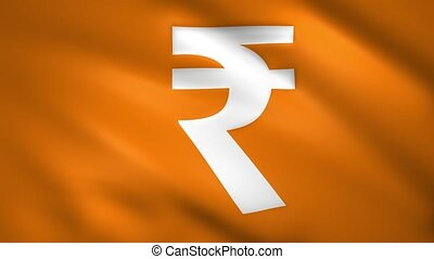 Symbol of the rupees on the waving flag