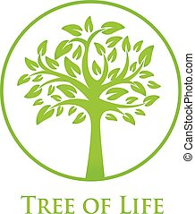 symbol of the tree of life - round green icon with a ...