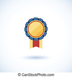symbol of the winner, badge with tapes ,vector illustration