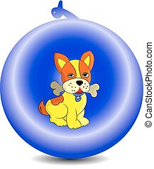 Symbol of the year 2018 yellow dog in a New Year's ball, cartoon on a white background.