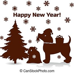 Symbol of the year, brown dog in santa claus cap holding a bell in his mouth, cartoon on white background,