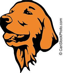 Symbol of the year, dog head, silhouette-cartoon on white background,
