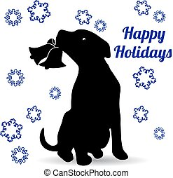 Symbol of the year, dog silhouette, holding a bell in the teeth, cartoon on a white background,